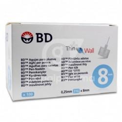 Agujas BD Microfine 0,25X8 mm, 100 Unidades