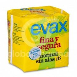 Evax Fina & Segura Compresa Normal Sin Alas, 16 Unidades